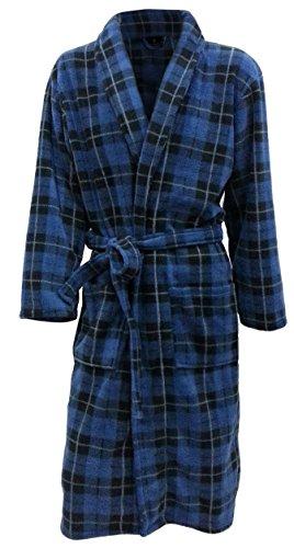 Men's Fleece Robe by John Christian - Blue Tartan (Large)