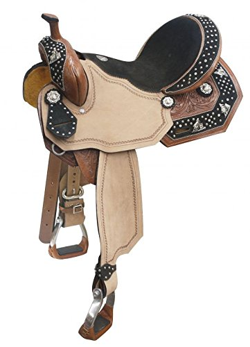 """15"""" Barrel Racing Saddle Leather With Suede Overlay And Barrel Racer Conchos Bling"""