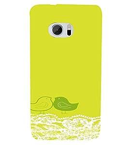 PrintVisa Corporate Print & Pattern Cute Birds Green 3D Hard Polycarbonate Designer Back Case Cover for HTC One M10