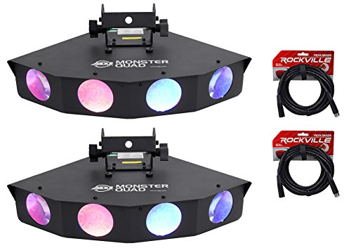 Package: (2) American DJ Monster Quad RGBWA LED Moonflower Effect Lights W/Quadruple Lens And DMX Controls + (2) Rockville RDX3M25 25' Black Nickel-Plated 100% OFC Copper 3-Pin Male-Female DMX Cables (Monster Quad compare prices)