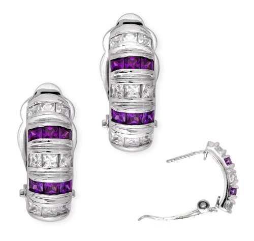 Princess-Cut C.Z. Amethyst Diamond Sterling Silver Clip With Post Earrings