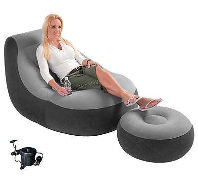 Intex Ultra Lounge Inflatable Chair w/ Ottoman Sofa Dorm Chair with AC Pump