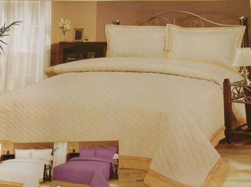 3 PCS Wedding Quilted Fully Embroidery Bedspreads / Beige/full or Queen Size