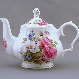 Grace's Rose Tea Pot - 6 Cup Tea Pot, 40 Ounces. Fine Bone China. Gold Trimmed. Swirl Shape. Dishwasher Safe