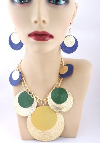 Ladies Gold with Blue and Green Shiny Disc Style 18 Inch Adjustable Necklace with Matching Dangle Earrings Jewelry Set