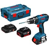 Bosch GSB18-2-Li Cordless Combi Drill 18V & 3 Batteries [42pc Screwdriver & Accessory Kit with Interchangable Precision Screwdriver]