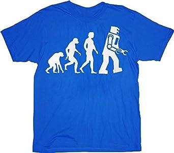 The Big Bang Theory Robot Evolution T-shirt Tee (Small, Blue)