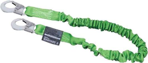 Miller by Honeywell 216MAL/7FTGN 7-Feet Manyard II Shock-Absorbing Stretchable Web Lanyard with 2 Aluminum Locking Snap Hooks, Green miller titan by honeywell ac qc xsbl aircore full body harness x small blue