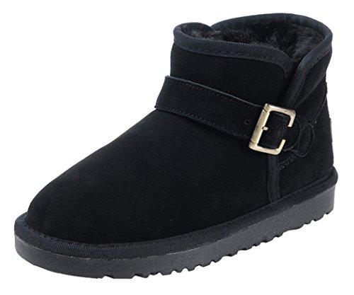 Milanao Men Winter Buckle Unisex Leather Snow Boots(9.5 D(M)Us,Black)
