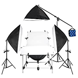 Emart Photography Photo Studio Photo Shooting Table, Boom Stand and 4 Softboxes Continuous Lighting Kit