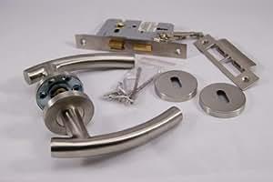 Curve T Lever Door Handle Internal 3 Lever Lockset - Satin Stainless Steel
