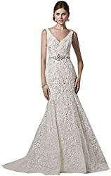All Over Lace Trumpet Wedding Dress with Deep V Neckline Style CWG621