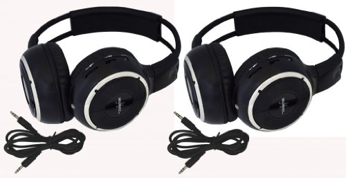 Pair of Two Channel Folding Adjustable Universal Rear Entertainment System Infrared Headphones With 2 Additional 48