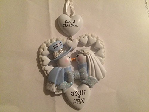 Personalized Our First Christmas Snowman Wedding Ornament- Free Personalization