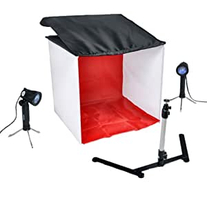 CowboyStudio Table Top Photo Studio Light Tent Kit in a Box - 1 Tent, 2 Light Set, 1 Stand, 1 Case