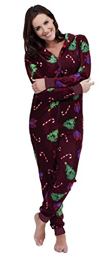 Brand-New-Ladies-Christmas-Xmas-Hooded-Onesie-Sleepsuit-Pyjamas