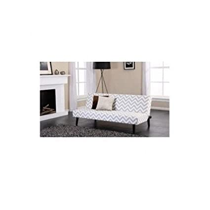 Futon Sofa Chevron Stripes White and Gray