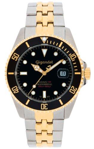 Gigandet Automatik Herren-Armbanduhr Sea Ground Taucheruhr Uhr Datum Analog Edelstahlarmband Schwarz Gold G2-016 9