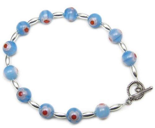 AM3723 – Unique Millefiori Style glass bead Bracelet by Dragonheart – 20cm