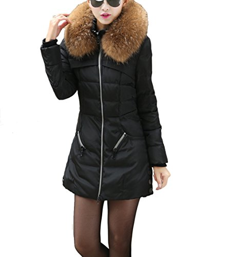 Dayan Women'S Thickened Long Down Jacket Size Xl Black