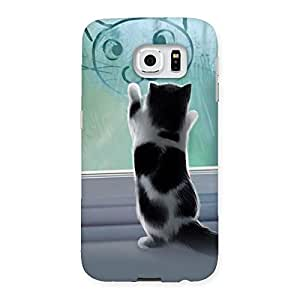 Cute Kitty Glass Back Case Cover for Samsung Galaxy S6