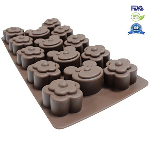 Fontaine DIY Christmas Gift 14 -Cavity Non Stick Bakeware Silicone Chocolate Pastry Mold Mickey Brown