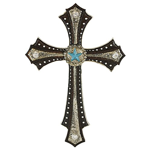 Beautifully Designed Layered Western Wall Cross with Silver Studded Leather Look with Burnished Silver Leather Top Layer and Turquoise Star Center