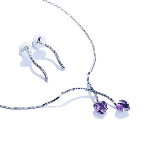 Double Heart Necklace & Earrings Jewellery Set, ''LOVE ENTWINED'' Stunning Necklace Lock of Crystal Hearts; CZ & Swarovski Crystals Set, Matching Earrings, 3 Colour Options Amethyst; Jet or Topaz. Romantic Gift Idea, Great Value for Swarovski Jewellery.