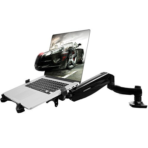 2 in 1 FLEXIMOUNTS L01 Full Motion LCD Stand Desk Mount for 11-15.6 inch Laptop/Notebook or 10-24 inch computer monitor with Swivel Gas Spring arm,With Clamp or Grommet Standing Desktop Support Notebook Arm Desk