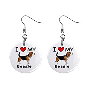 I Love My Beagle Button Earrings