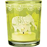 Vintage Glass Candle Holder (elephant design)