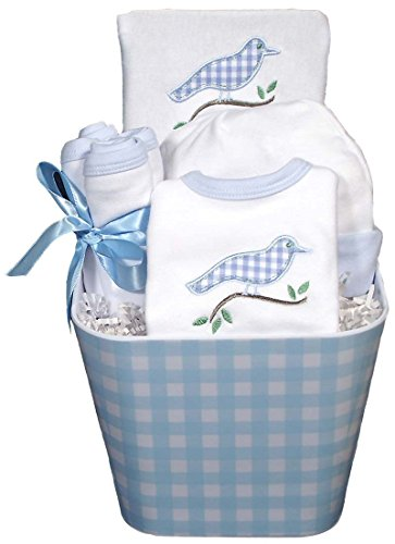 Raindrops Baby Accessory, Gingham Bird Set, Blue