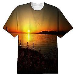 Snoogg Sun Rising Mens Casual All Over Printed T Shirts Tees