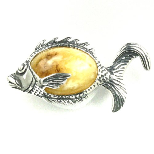 Baltic Butterscotch Amber Sterling Silver Little Museum Collection Fish Pin 19th Century