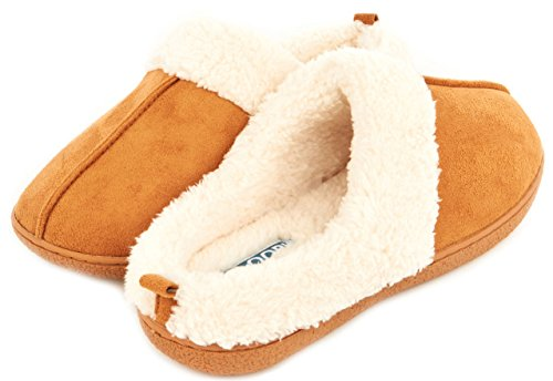Floopi Womens Indoor Outdoor Fur Lined Clog Slipper W/Memory Foam (L, Chestnut-CS101) (Woman House Slippers compare prices)