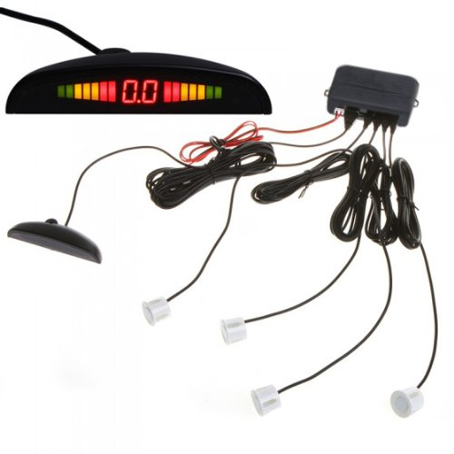 Andoer Car Led Parking Reverse Backup Radar System With Backlight Display + 4 Sensors White