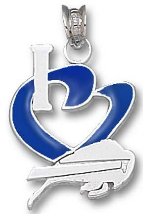 Buffalo Bills Sterling Silver ''I Heart'' Logo 3/4'' Enamel Pendant