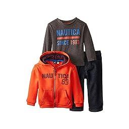 Nautica Baby Boys\' 3 Piece Fleece L Nautica Tee Denim Pant Set, Tabasco, 12 Months