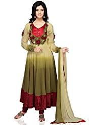 Utsav Fashion Women's Olive Green Faux Georgette Readymade Anarkali Churidar Kameez-Large