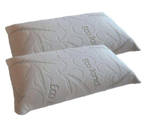 Quantity =2 Queen size Dual Zone 100% memory foam Filled Bed Pillow with internal case and Bamboo zipper cover