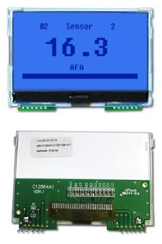 Lcd Graphic Display Modules & Accessories Cog Fstn(+) 128X64 Blue W/Heater