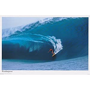 Teahupoo (Surfing Big Wave) Art Poster Print - 36x24