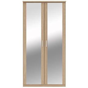 Bronte - Armario de 2 puertas correderas con espejo, efecto madera de roble