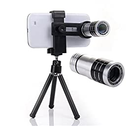 Universal Aluminum 12X Magnifier Optical Zoom Telescope Camera Lens with phone holder and Tripod For Iphone 6 6plus 5 5S 4 4S, Samsung Galaxy S3 S4 S5 Note 4/3/2,LG, HTC, SONY Smartphones