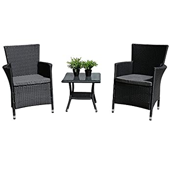 PATIOROMA 3PC Patio Outdoor Rattan Furniture Set Cushioned Garden Table and Chairs with Gray Cushions, Black PE Wicker