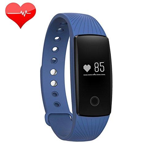 RIVERSONG ® Bracciale Fitness, Braccialetto Orologio Fitness Cardiofrequenzimetro activity tracker con OLED Pedometro Calorie Tracking salute Smartwatch (Blu)