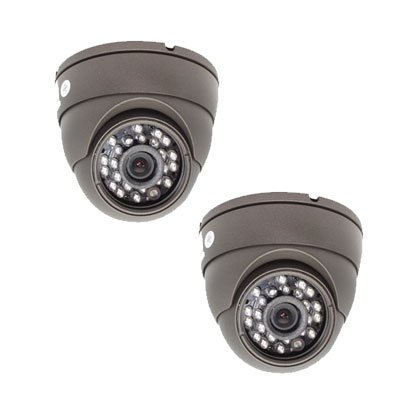 Pack of (2) Aluminum Dome Indoor Security Camera with Power Adapter Kit - 520 TV lines 3.6mm Len Wide Angle View. Good for Indoor Surveillance. 0 Lux Minimum Illumination