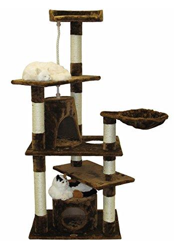 Go Pet Club Cat Furniture Condo, 62-Inch, Brown