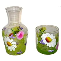 ArtisanStreet's Bedside Water Carafe Set in Wildflower Design. Two Piece Floral Set Includes Carafe and Matching Glass. Made To Order & Signed By Artisan.