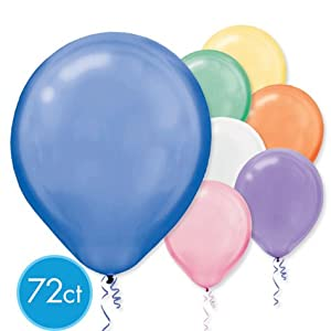 Assorted Pearlized Colors 12in Latex Balloons 72ct